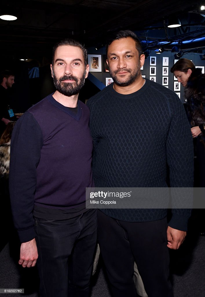 Designers Ryan Lobo (L) and Ramon Martin seen during day 4 of New York Fashion Week: The Shows at XX on February 14, 2016 in New York City.