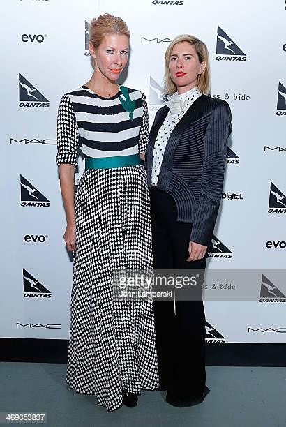 Designers Sarahjane Clarke and Heidi Middleton attend the Sass Bide Show during MercedesBenz Fashion Week Fall 2014 at Classic Car Club on February...