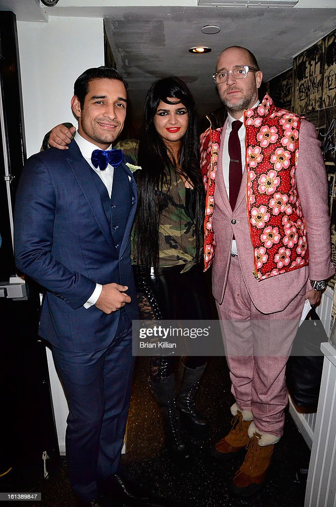 Designers Sebastian Ramirez, Anna Francesca, and Alexander Nash attend the Anna Francesca Presentation during Fall 2013 Mercedes-Benz Fashion Week at Tammany Hall on February 9, 2013 in New York City.
