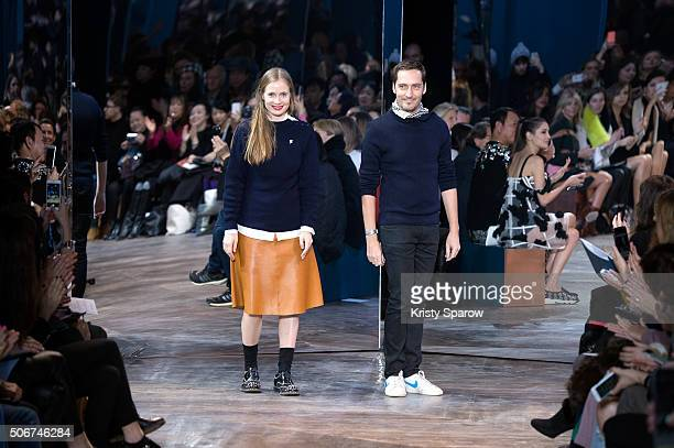 Designers Serge Ruffieux and Lucie Meier acknowledge the audience during the Christian Dior Haute Couture Spring Summer 2016 show as part of Paris...