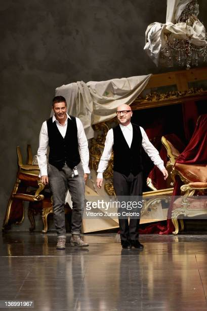 Designers Stefano Gabbana and Domenico Dolce acknowledge the applause of the public after the Dolce Gabbana fashion show as part of Milan Fashion...