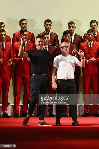 Designers Stefano Gabbana and Domenico Dolce acknowledges the applause of the audience after the Dolce Gabbana show as part of Milan Fashion Week...