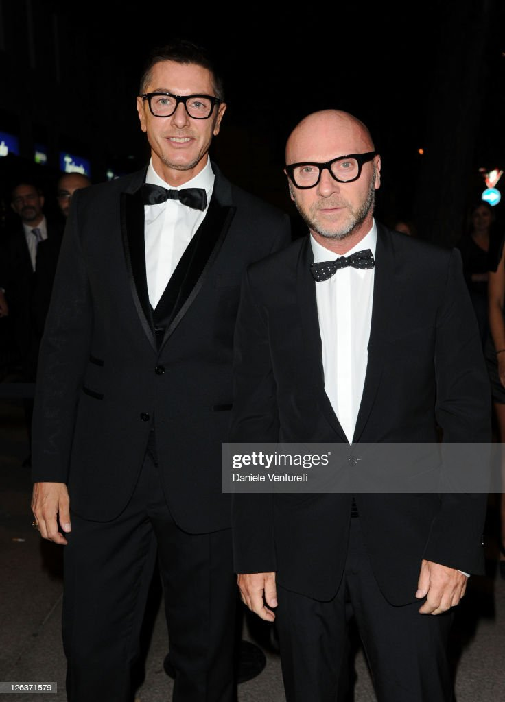 Designers <a gi-track='captionPersonalityLinkClicked' href=/galleries/search?phrase=Stefano+Gabbana+-+Fashion+Designer&family=editorial&specificpeople=4820355 ng-click='$event.stopPropagation()'>Stefano Gabbana</a> and <a gi-track='captionPersonalityLinkClicked' href=/galleries/search?phrase=Domenico+Dolce&family=editorial&specificpeople=534808 ng-click='$event.stopPropagation()'>Domenico Dolce</a> attend a dinner at the Dolce & Gabbana Gold Restaurant as part Milan Womenswear Spring/Summer 2012 Fashion Week on September 25, 2011 in Milan, Italy.