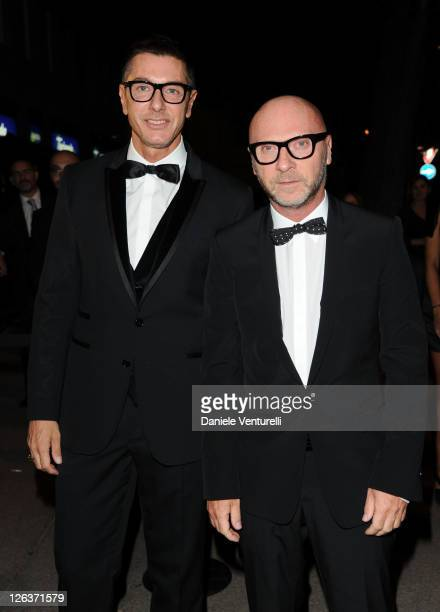 Designers Stefano Gabbana and Domenico Dolce attend a dinner at the Dolce Gabbana Gold Restaurant as part Milan Womenswear Spring/Summer 2012 Fashion...