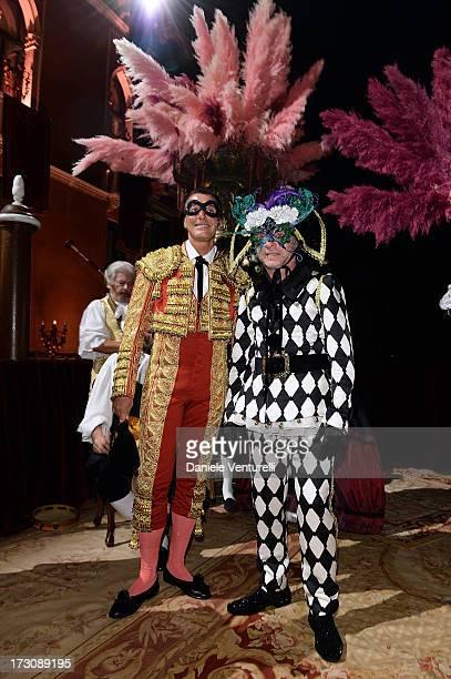 Designers Stefano Gabbana and Domenico Dolce attend the 'Ballo in Maschera' to Celebrate DolceGabbana Alta Moda at Palazzo Pisani Moretta on July 6...
