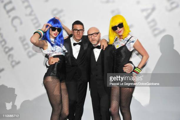 Designers Stefano Gabbana and Domenico Dolce attend the DolceGabbana and Martini gold Dance Art Garage party on March 17 2011 in Moscow Russia