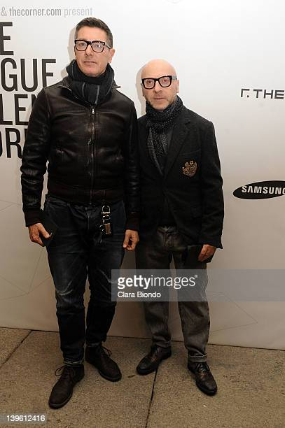 Designers Stefano Gabbana and Domenico Dolce attend The Vogue Talents Corner during Milan Womenswear Fashion Week on February 23 2012 in Milan Italy