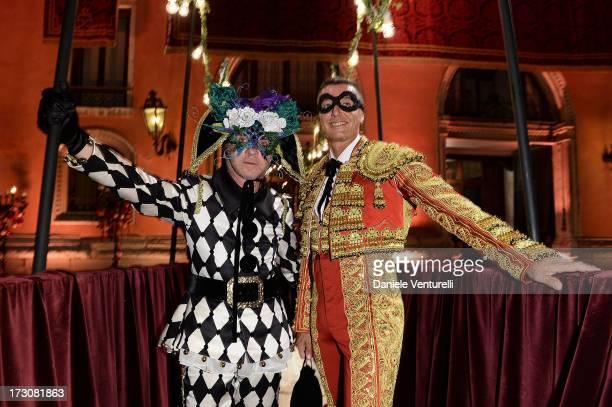 Designers Stefano Gabbana and Domenico Dolce attends the 'Ballo in Maschera' to Celebrate DolceGabbana Alta Moda at Palazzo Pisani Moretta on July 6...