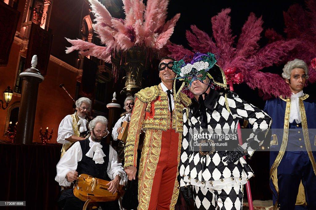 Designers Stefano Gabbana and Domenico Dolce attends the 'Ballo in Maschera' to Celebrate Dolce&Gabbana Alta Moda at Palazzo Pisani Moretta on July 6, 2013 in Venice, Italy.