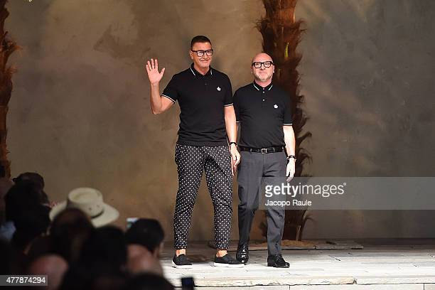 Designers Stefano Gabbana and Domenico Dolce walk the runway at the Dolce Gabbana fashion show as part of Milan Men's Fashion Week Spring/Summer 2016...