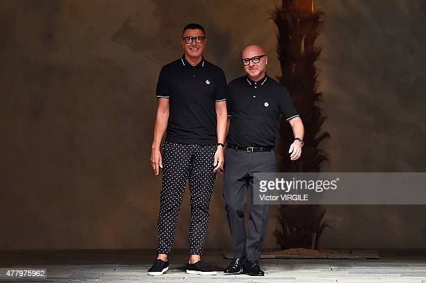 Designers Stefano Gabbana and Domenico Dolce walk the runway during the Dolce Gabbana Ready to Wear fashion show as part of Milan Men's Fashion Week...