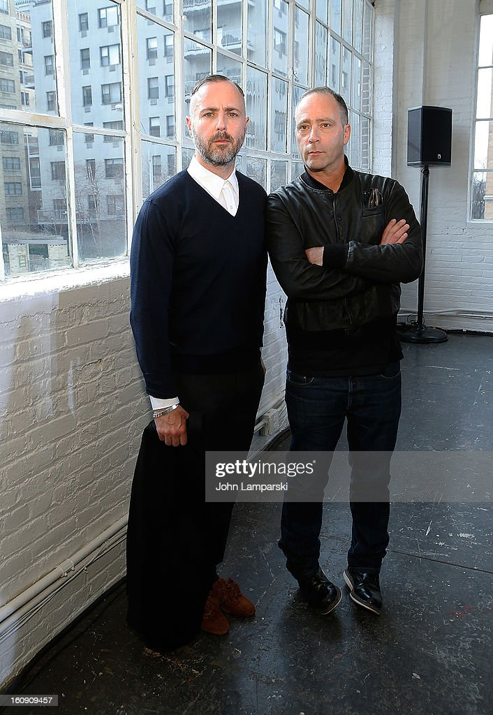 Designers <a gi-track='captionPersonalityLinkClicked' href=/galleries/search?phrase=Steven+Cox+-+Fashion+Designer&family=editorial&specificpeople=228924 ng-click='$event.stopPropagation()'>Steven Cox</a> and Daniel Silver attends Duckie Brown during Fall 2013 Mercedes-Benz Fashion Week at Industria Superstudio on February 7, 2013 in New York City.