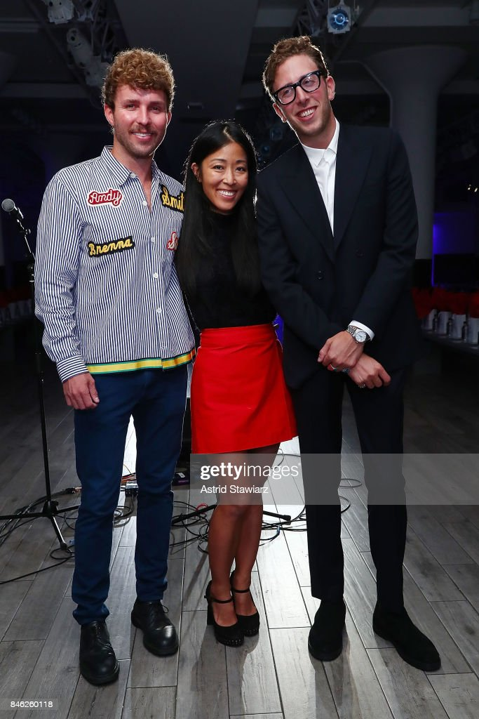 Designers Timo Weiland, Donna Kang and Alan Eckstein pose for photos backstage at Momentum By Timo Weiland during New York Fashion Week at Metropolitan West on September 12, 2017 in New York City.