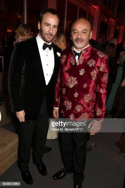 Designers Tom Ford and Christian Louboutin attend the 2017 Vanity Fair Oscar Party hosted by Graydon Carter at Wallis Annenberg Center for the...