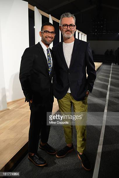 Designers Tom Mora and Frank Muytjens pose at the JCrew Presentation during the Spring 2013 MercedesBenz Fashion Week at The Studio at Lincoln Center...