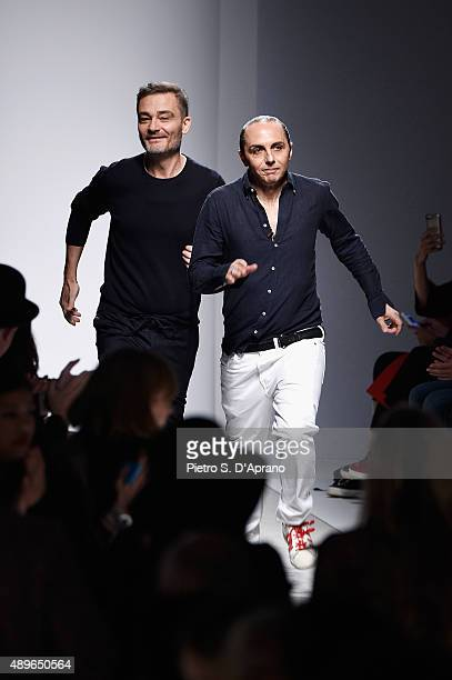 Designers Tommaso Aquilano and Roberto Rimondi attend the Fay show during the Milan Fashion Week Spring/Summer 2016 on September 23 2015 in Milan...