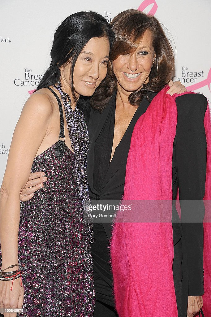 Designers Vera Wang (L) and Donna Karan attend The Breast Cancer Research Foundation's 2013 Hot Pink Party at The Waldorf=Astoria on April 17, 2013 in New York City.