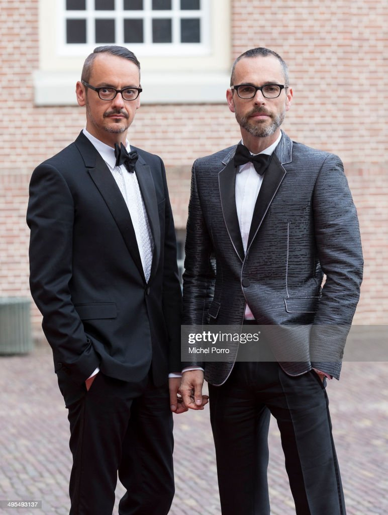 Designers Viktor Horsten (L) and Rolf Snoeren arrive for dinner at the Loo Royal Palace on June 3, 2014 in Apeldoorn, Netherlands.