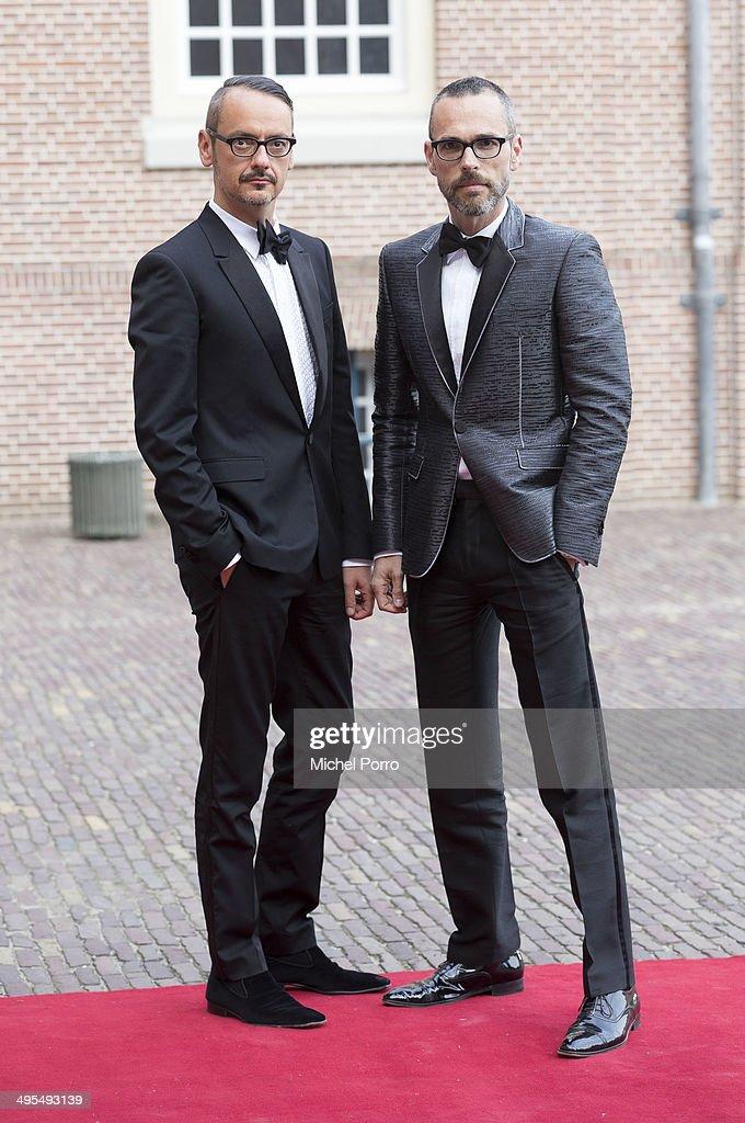 Designers Viktor Horsten (L) and Rolf Snoeren arrive for dinner at the Loo Royal Palace on June 3, 2014 in Apeldoorn, Netherlands.