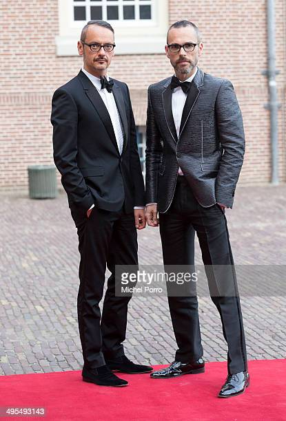 Designers Viktor Horsten and Rolf Snoeren arrive for dinner at the Loo Royal Palace on June 3 2014 in Apeldoorn Netherlands