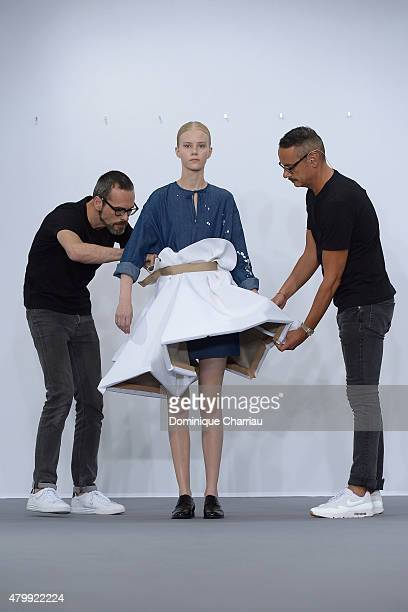 Designers Viktor Horsting and Rolf Snoeren a model walks the runway during the ViktorRolf show as part of Paris Fashion Week Haute Couture...