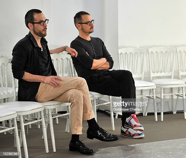 Designers Viktor Horsting and Rolf Snoeren after the fashion schow Viktor Rolf Monsieur show as part of Paris Menswear Fashion Week Spring/Summer...