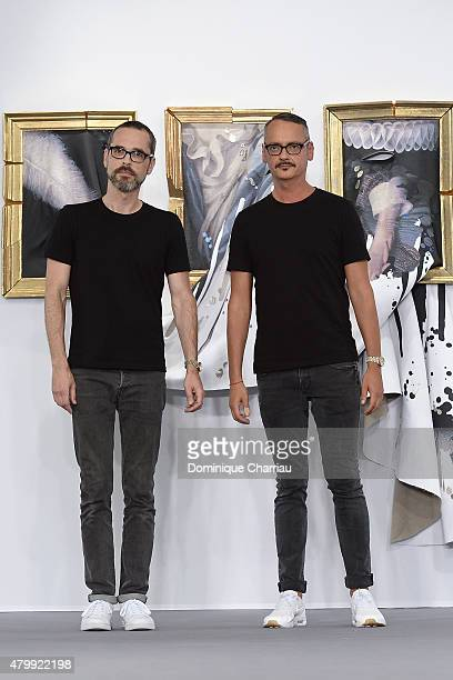 Designers Viktor Horsting and Rolf Snoeren at the end of the ViktorRolf show as part of Paris Fashion Week Haute Couture Fall/Winter 2015/2016 on...