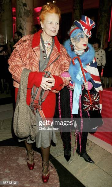 Designers Vivienne Westwood and Anna Piaggi attend the private view for Piaggi's new exhibition 'Fashionology' at the Victoria Albert Museum on...