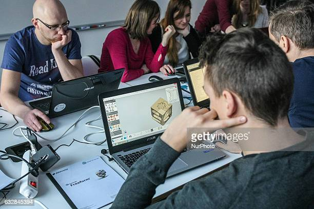 3D designers while working on a computers are seen in Pomeranian Science and Technology Park on 27 January 2017 in Gdynia Poland During the...
