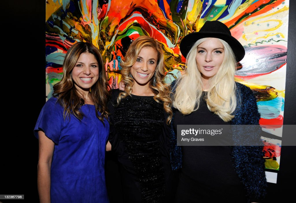 Designer/TV Personality Kathy Rose, Artist Lana Gomez and Actress <a gi-track='captionPersonalityLinkClicked' href=/galleries/search?phrase=Lindsay+Lohan&family=editorial&specificpeople=171623 ng-click='$event.stopPropagation()'>Lindsay Lohan</a> attend the Lana Gomez Art Show at Roseark on November 11, 2011 in Los Angeles, California.