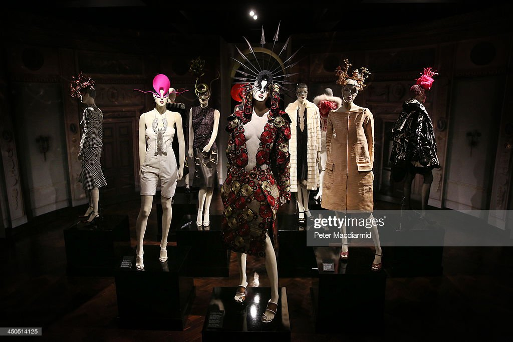 Designs by Alexander McQueen, Philip Treacy, Manolo Blahnik and others are displayed at the Isabella Blow: Fashion Galore! exhibition at Somerset House on November 19, 2013 in London, England. Presented in partnership with the Isabella Blow Foundation and Central Saint Martins, the show features over 100 garments from designers such as Alexander McQueen and Philip Treacy. Selected from the personal collection of the late British patron of fashion and art, the exhibition runs from November 20, 2013 to March 2, 2014.