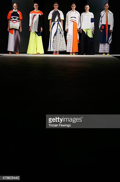 Designs by Catriona Pringle of De Montfort University during the Best of Graduate Fashion Week show on day 4 of Graduate Fashion Week at The Old...