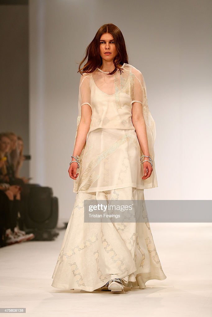 Designs by Claudia Elena Toffano Huguenin of the Universidad CENTRO Mexico on day 4 of Graduate Fashion Week at The Old Truman Brewery on June 2 2015...