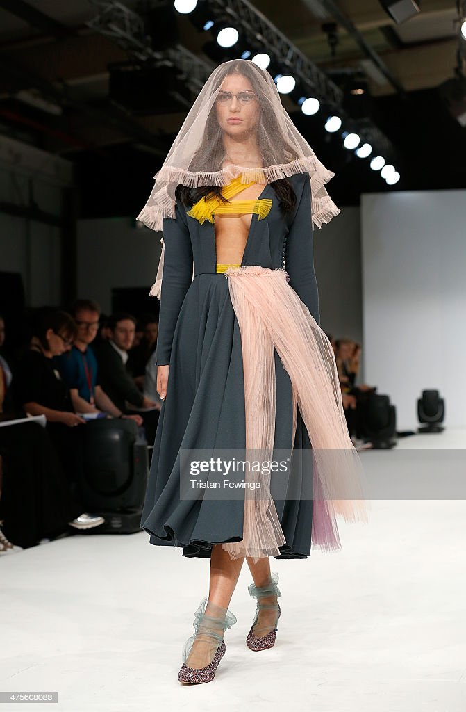 Designs by Fernanda Morales Broc of the Universidad CENTRO Mexico on day 4 of Graduate Fashion Week at The Old Truman Brewery on June 2 2015 in...