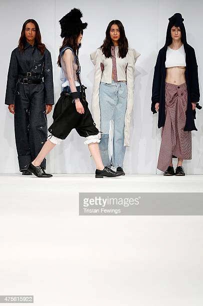 Designs by Giovanna Flores of PRATT during the Samsonite International Catwalk Competition on day 4 of Graduate Fashion Week at The Old Truman...