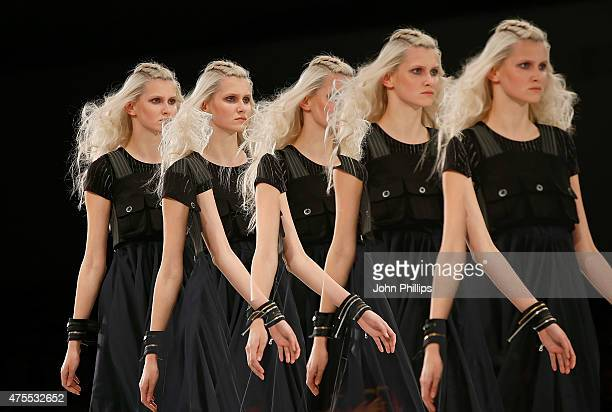 Designs by Jessica Barry of Nottingham Trent University on day 3 of Graduate Fashion Week at The Old Truman Brewery on June 1 2015 in London England