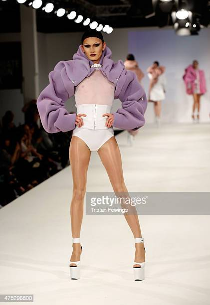 Designs by Katie Homer of Ravensbourne College on day 1 of Graduate Fashion Week at The Old Truman Brewery on May 30 2015 in London England