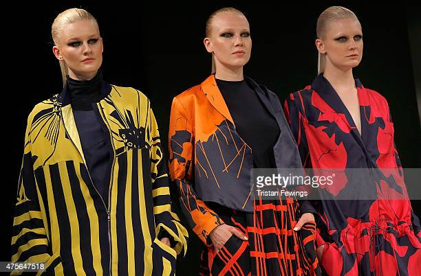 Designs by Katrina Wilson of Birmingham City University on day 4 of Graduate Fashion Week at The Old Truman Brewery on June 2 2015 in London England
