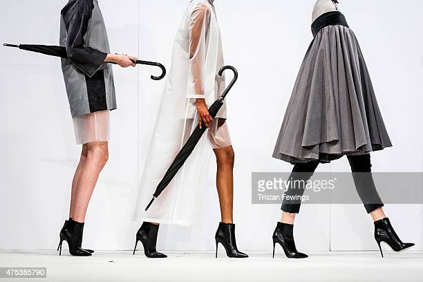 Designs by Lauren Basford of Birmingham City University on day 1 of Graduate Fashion Week at The Old Truman Brewery on May 30 2015 in London England