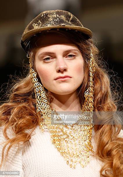 Designs by Nina Cutler of Edinburgh College of Art on day 2 of Graduate Fashion Week at The Old Truman Brewery on May 31 2015 in London England