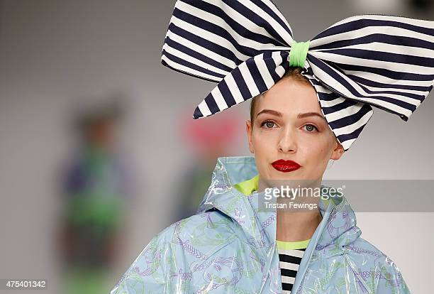 Designs by Rachel Gordon of the University of East London on day 2 of Graduate Fashion Week at The Old Truman Brewery on May 31 2015 in London England