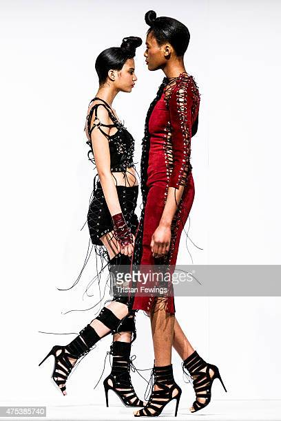 Designs by Rachel O'Brien of Liverpool John Moores on day 1 of Graduate Fashion Week at The Old Truman Brewery on May 30 2015 in London England