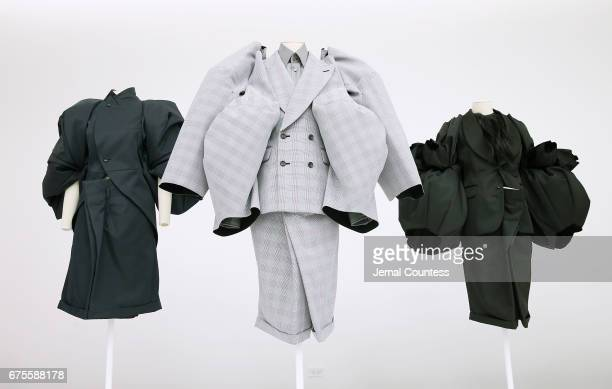 Designs by Rei Kawakubo on display at the 'Rei Kawakubo/Comme des Garcons Art Of The InBetween' Costume Institute Gala Press Preview at Metropolitan...