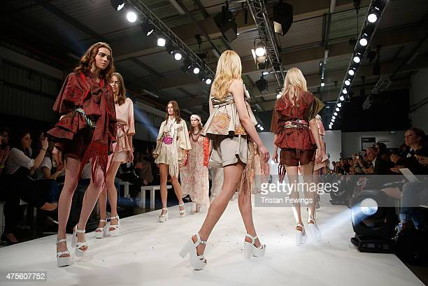 Designs by students of the Universidad CENTRO Mexico on day 4 of Graduate Fashion Week at The Old Truman Brewery on June 2 2015 in London England