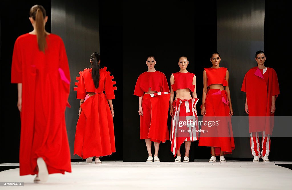 Designs by Victoria Miller of Norwich University of the Arts during the Best of Graduate Fashion Week show on day 4 of Graduate Fashion Week at The...