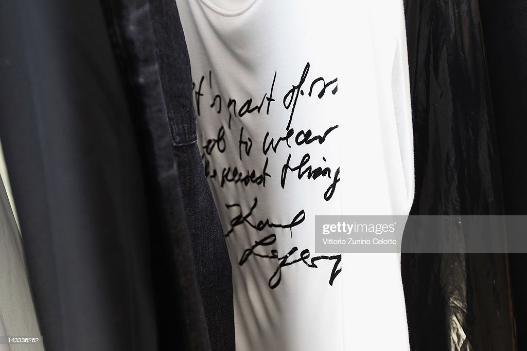 Designs from the Karl by Karl Lagerfeld collection are displayed on April 24 2012 in Milan Italy