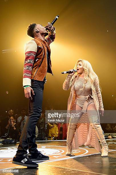 Desiigner and Lil Kim perform onstage during the Puff Daddy and The Family Bad Boy Reunion Tour presented by Ciroc Vodka and Live Nation at Barclays...