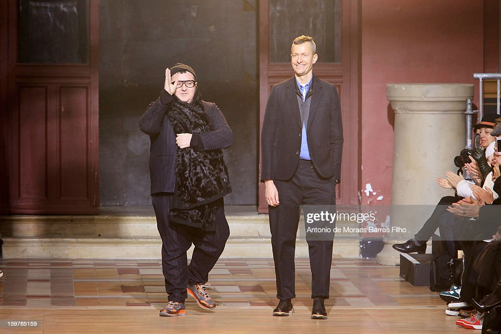 Desinger <a gi-track='captionPersonalityLinkClicked' href=/galleries/search?phrase=Alber+Elbaz&family=editorial&specificpeople=783481 ng-click='$event.stopPropagation()'>Alber Elbaz</a> (L) walks the runway during the Lanvin Men Autumn / Winter 2013 show as part of Paris Fashion Week on at on January 20, 2013 in Paris, France.