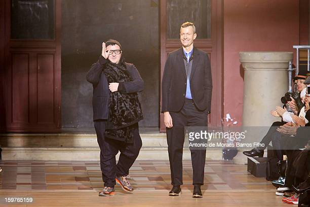Desinger Alber Elbaz walks the runway during the Lanvin Men Autumn / Winter 2013 show as part of Paris Fashion Week on at on January 20 2013 in Paris...
