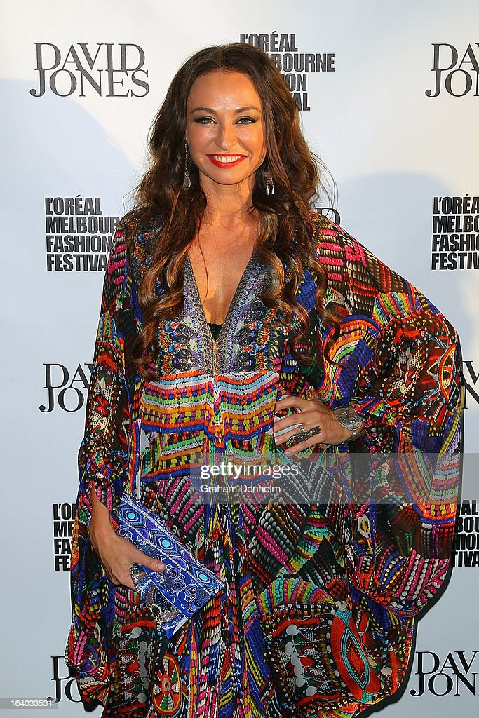 Desinger Camilla Franks poses as she arrives for the L'Oreal Melbourne Fashion Festival Opening Event presented by David Jones at Docklands on March 19, 2013 in Melbourne, Australia.